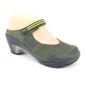 J-41 Continental Leather Wedge Slip On Clog Shoes